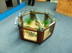 Coffee Table Fish Tank 299L - Hexagonal Design in Rosewood by StarMeKitten