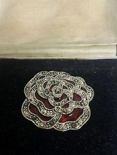Silver Art deco ruby red enamel brooch