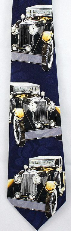 OLD CARS NECKTIE NEW TIE MODEL T FORD CLASSIC VINTAGE AUTOMABILES RACE