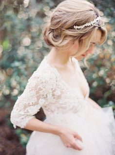 Beautiful #wedding hair. Loose, romantic updo with jeweled hair piece. Lace dress by Emily Riggs, image by Erich McVey. #bride #bridal