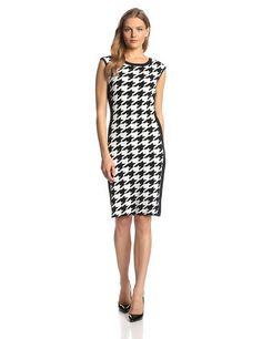 Calvin Klein Women's Sleeveless Houndstooth Print Dress, Black/Eggshell, Small