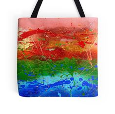 'Rainbow Abstract' Tote Bag by JuliaFineArt Framed Prints, Canvas Prints, Art Prints, Floor Pillows, Art Boards, Duvet Covers, Finding Yourself, Reusable Tote Bags, Rainbow