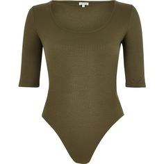 River Island Khaki ribbed scoop neck bodysuit (42 AUD) ❤ liked on Polyvore featuring tops, sweaters, bodysuits, khaki, women, brown bodysuit, body suit, river island, khaki sweater and fitted sweater