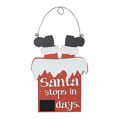 Santa Claus Countdown to Christmas Wood Hanging Chalkboard Calendar Sign Holiday Decoration *** This is an Amazon Affiliate link. You can get additional details at the image link.