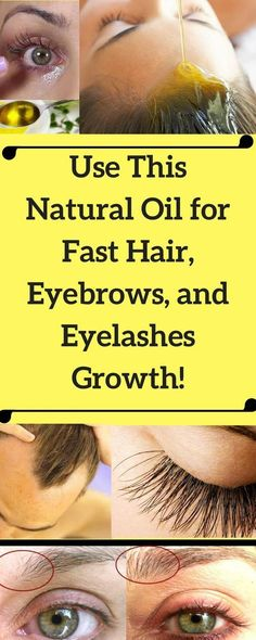 Natural Oil for Fast Hair, Eyebrows, and Eyelashes Growth Eyebrow Growth, Eyelash Growth, Salud Natural, Natural Oils, Beauty Secrets, Beauty Hacks, Beauty Tips, Help Hair Grow, Tips