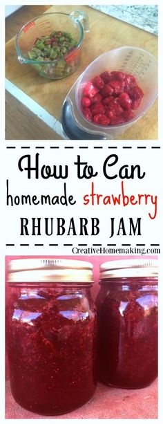 Rhubarb Jam Canning Recipe Easy instructions for making strawberry rhubarb jam from fresh strawberries and rhubarb from the garden.Easy instructions for making strawberry rhubarb jam from fresh strawberries and rhubarb from the garden. Rhubarb Jelly, Strawberry Rhubarb Jam, Strawberry Recipes, Rhubarb Preserves, Rhubarb Marmalade, Rhubarb Rhubarb, Tacos, Jelly Recipes, Juice Recipes