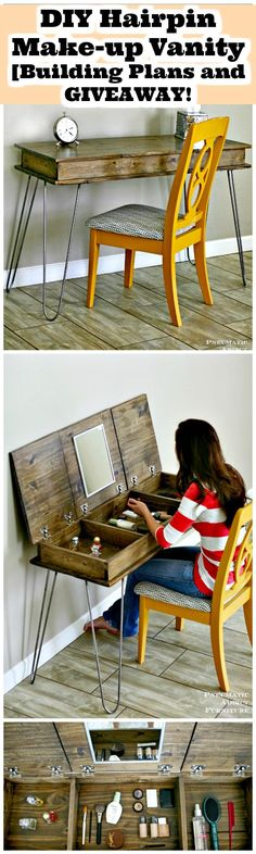 DIY Hairpin Make-up Vanity [Building Plans and GIVEAWAY - 20+ DIY Makeup Vanity Tutorials - DIY Your own Makeup Vanity Table