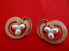 Vintage 1 gold earrings with freshwater pearls abd pink by jeanmc, $15.00