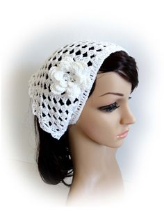 Crochet Bandana. Handmade Mesh Hair Wrap. 3 Corner Do by VividBear
