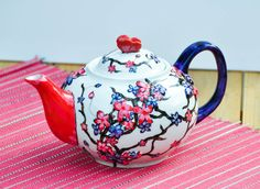 Hand Painted Ceramic Teapot  Made to Order  by PictureInADream, $60.00