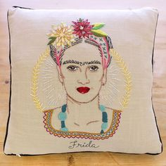 Embroidery Pillow Kit - Frida Kahlo Portrait