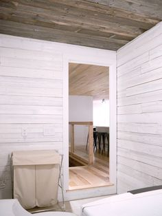 reclaimed wood on the walls/ceiling