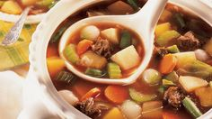 Old-Fashioned Beef-Vegetable Soup For a winter gathering, there's nothing better than this amazingly flavored beef soup, with classic ingredients like rutabagas and cabbage. Recipes For Vegetable Beef Soup, Easy Vegetable Soup, Beef Soup Recipes, Cooking Recipes, Sopas Light, Pea And Ham Soup, Pea Soup, Slow Cooker Soup, Beef Dishes