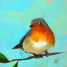 robin no. 39 original bird oil painting by moulton 5 x 5 inches prattcreekart