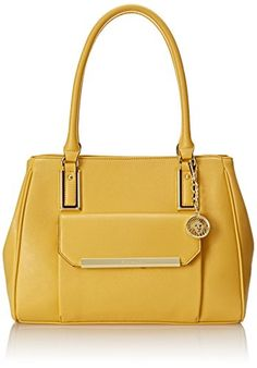 Anne Klein Shimmer Down Satchel Top Handle Bag, Sunglow, One Size. Shopswell | Shopping smarter together.™