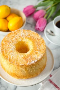 Airy, fluffy, and delicate Meyer Lemon Chiffon Cake with sweet glaze and lightly dusted with powder sugar. It's hard to eat only 1 slice. Food Cakes, Cupcake Cakes, Lemon Recipes, Cake Recipes, Dessert Recipes, Bolo Grande, Lemon Chiffon Cake, Café Chocolate, Angel Cake