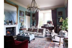 Traditional Drawing Room - Classical proportions and traditional furnishings combine making this Cornish family home the ideal acquisition - living rooms on HOUSE by House & Garden.