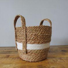 Natural and White Stripe Basket with Hemp Handles Natural Materials, Hemp, Basket, Handle, Bedroom, Nature, Color, Quartos, Naturaleza