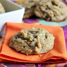 Leelabean Cakes: Gluten-free, Grain-free, Flourless Peanut Butter Chocolate Chip Cookies--try with almond butter and a different sweetener.