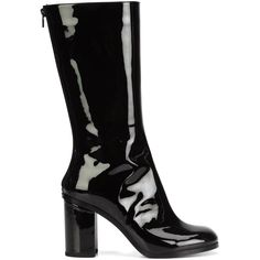 Marios vinyl mid-calf boots (1 393 AUD) ❤ liked on Polyvore featuring shoes, boots, black, black vinyl boots, mid calf boots, black boots, black calf length boots and vinyl boots