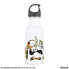 Po and the Furious Five 18oz Water Bottle panda. Producto disponible en tienda Zazzle. Product available in Zazzle store. Regalos, Gifts. Link to product: http://www.zazzle.com/po_and_the_furious_five_18oz_water_bottle-256566501315790012?CMPN=shareicon&lang=en&social=true&rf=238167879144476949 #bottle #botella #oso #panda #bear