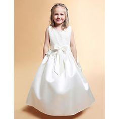 A-line Scoop Floor-length Lace Flower Girl Dress – EUR € 77.36