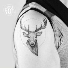 Deer and Dotwork Circle Tattoo by Mrs Fox