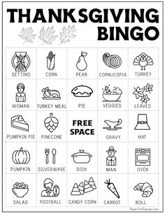 Thanksgiving bingo cards to print and play a fun Thanksgiving themed game for the holiday break. Thanksgiving Bingo, Thanksgiving Coloring Pages, Thanksgiving Activities For Kids, Bingo Cards To Print, Holiday Break, Paper Trail, Calling Cards, Free Printables, Party Themes
