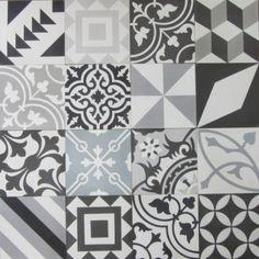 Encaustic Cement Tile Patchwork - Black and White