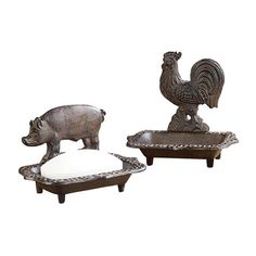 These simple rustic soap dishes create add instant charm to your bathroom or kitchen. Featuring two of our favorite farm animals, they're perfect for cabins or rustic-style homes that celebrate the nat...  Find the Farm Animal Iron Soap Dishes - Set of 2, as seen in the Best of Industrial Sale Collection at http://dotandbo.com/collections/black-friday-style-sale-industrial?utm_source=pinterest&utm_medium=organic&db_sku=CCO0240-set