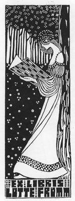 Exlibris für Lotte Fromm Lesende Märchenprinzessin im Märchenwald - P1 - 1906