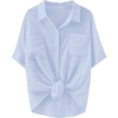 Knotted Striped Pockets Dip Hem Shirt Stripe (785 RUB) ❤ liked on Polyvore featuring tops, stripe shirt, knotted shirt, stripe top, blue stripe shirt and striped top