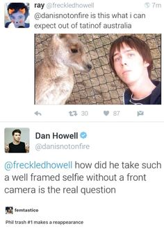 Fetus Phil with a kangaroo and Dan (aka Phil trash #1) makes an appearance