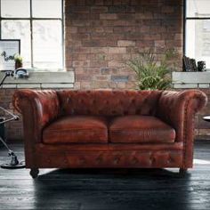Wallace Sacks Tan Leather Tilda Chesterfield Two Seater Sofa