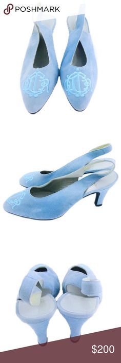 Christian Dior Logo Monogram Blue Suede Slingbacks VINTAGE Christian Dior Paris Logo Monogram Blue Suede Slingback's. US Size 9. Slight wear on suede and soles, but in great condition otherwise. Dior Shoes Heels
