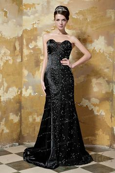 Trumpet/Mermaid Strapless Satin Beading Sweep/Brush Train Evening Dress