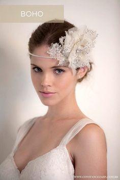 Headband com flor de organza + renda: Jenny Packham