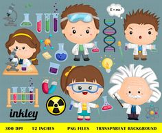 Job and Occupation Clipart - Cute Job Clip Art - Profession Clipart - Free SVG on Request Cute Animal Clipart, Cute Clipart, Science Crafts, Science Party, Cute Doodles Drawings, Science Clipart, Biology Art, Cartoon Chicken, Jobs In Art