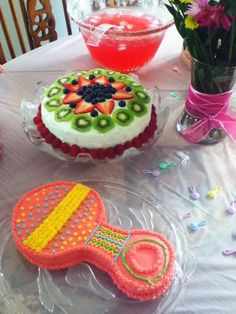 Finnish fruit cake and baby rattle cake I made for my sister's baby shower.
