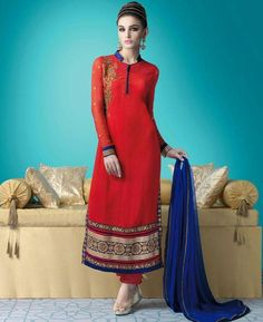 Buy Taking Red & Blue Straight Cut Salwar Kameez online at  https://www.a1designerwear.com/taking-red-blue-straight-cut-salwar-kameez  Price: $51.88 USD