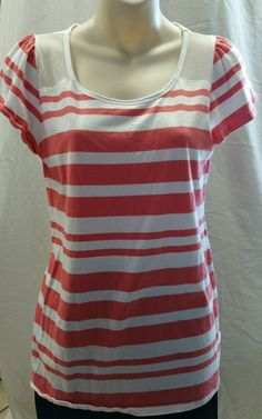 Gap top Size M Juniors Melon and White Stripes Short Sleeves in Clothing, Shoes & Accessories, Women's Clothing, Tops & Blouses | eBay