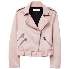 MANGO Zipped biker jacket ($100) ❤ liked on Polyvore featuring outerwear, jackets, pink moto jackets, motorcycle jacket, mango jackets, pink zip jacket and moto biker jacket
