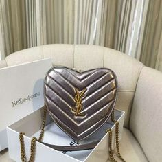 2016 Saint Laurent Bags Cheap Sale-Small Love Heart Chain Bag in Silver…