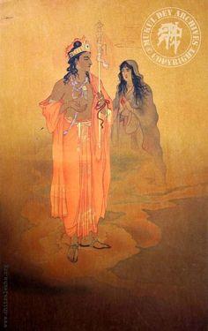 Yama and Savitri, by Nandalal Bose - Kokka woodblock print Oil Painting Gallery, Artist Painting, Modern Indian Art, Indian Arts And Crafts, Japanese Drawings, School Painting, Buddha Painting, Indian Art Paintings, Ancient Egyptian Art
