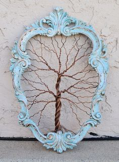 Framed tree wall art / wire sculpture Unique Art by AmyGiacomelli