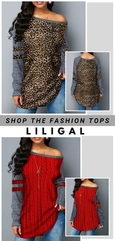 Free Shipping & Easy Return. Liligal casual sweatshirts, long sleeve leopard print t shirts, nye holiday tops, comfy fall winter outfits for women, shop now~ #liligal #womensfashion #nye #winter #sweatshirts