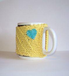 Knitted Mug Cozy  Yellow with Aqua Sequin Heart by KatysKnitKnacks, $7.00