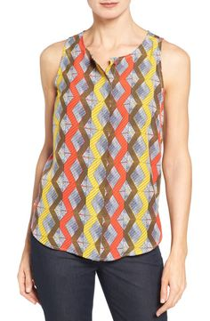 Halogen® Halogen® Button Front Print Tank (Regular & Petite) available at #Nordstrom