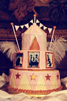 Next year birthday cake with yearly pics.