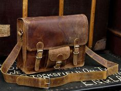 Medium Leather Old School Satchel - Scaramanga - Leather Satchels & Messenger Bags. Old Wooden Chests and Trunks